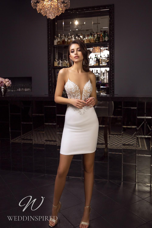 A Tina Valerdi sexy lace and satin short wedding dress