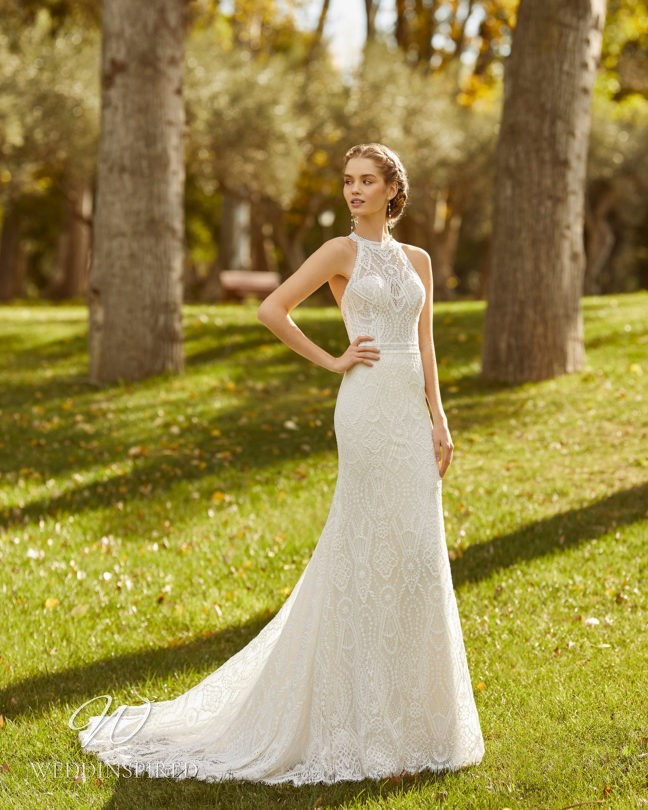 An Aire Barcelona 2021 lace halterneck mermaid wedding dress