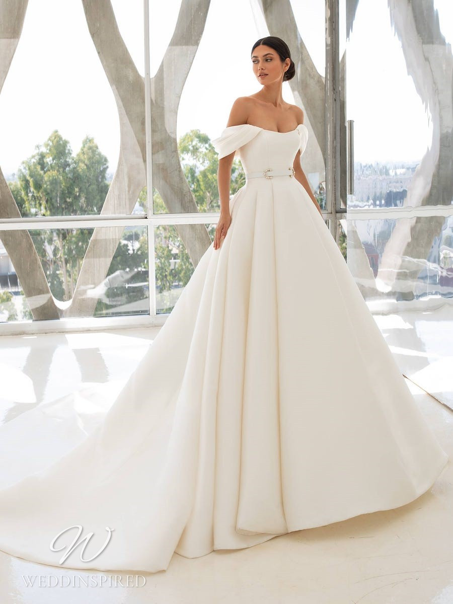 A Pronovias 2021 simple satin off the shoulder princess ball gown wedding dress