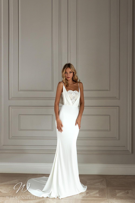 An Eva Lendel 2021 simple lace and crepe mermaid wedding dress