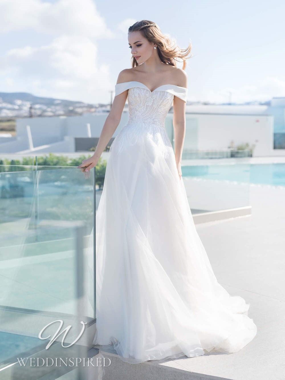 A Blunny 2021 off the shoulder tulle A-line wedding dress