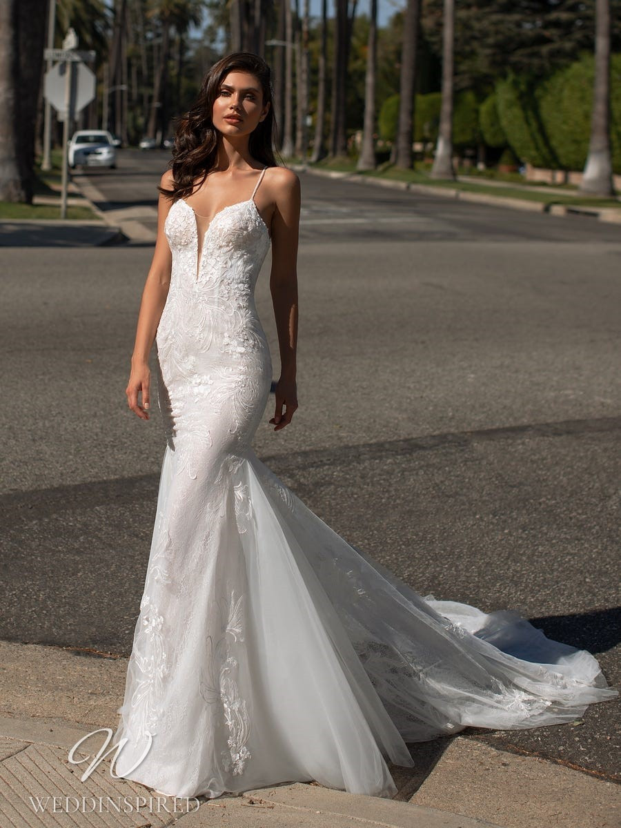 A Pronovias 2021 lace mermaid wedding dress with straps
