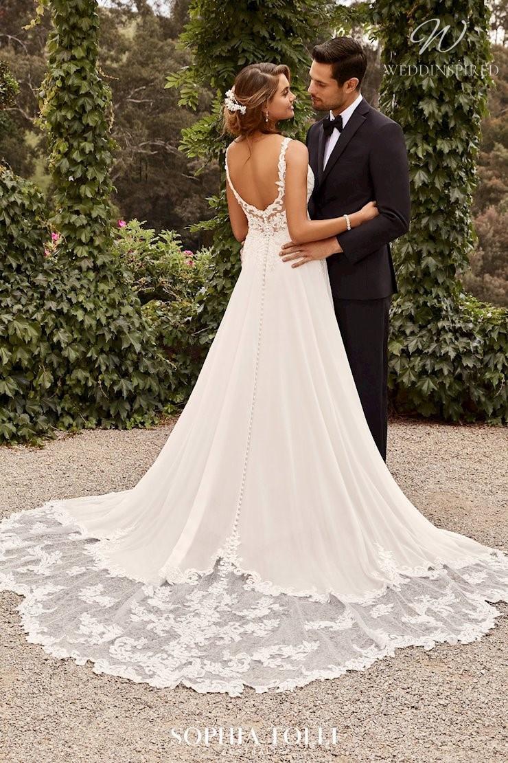 A Sophia Tolli simple lace A-line wedding dress