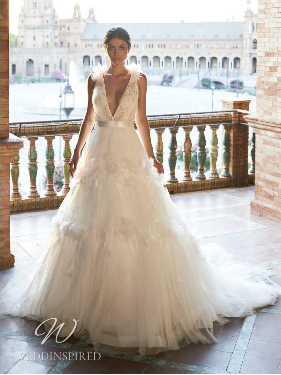 A Marchesa for Pronovias 2022 tulle A-line wedding dress with a v neck