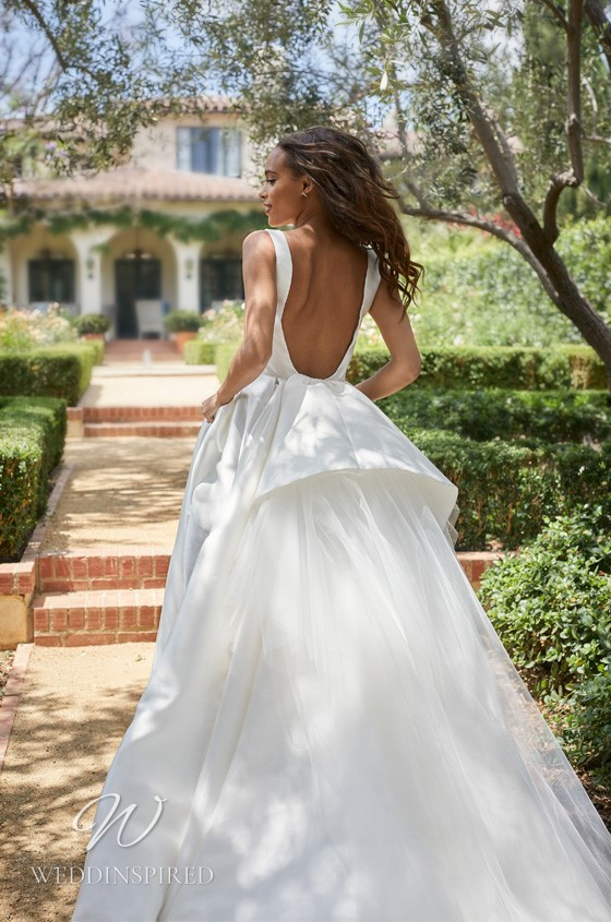 A Monique Lhuillier Bliss Spring 2021 satin ball gown wedding dress with pockets and straps