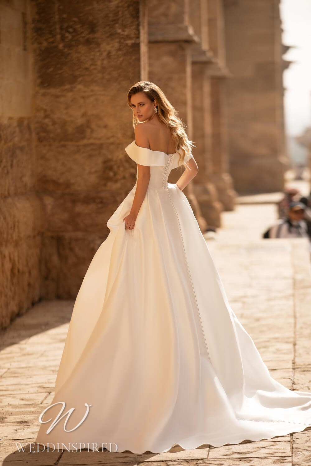 An Essential by Lussano 2021 simple satin off the shoulder princess wedding dress
