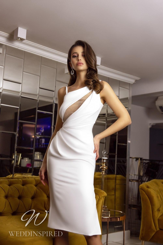 A Tina Valerdi sexy satin tea length wedding dress