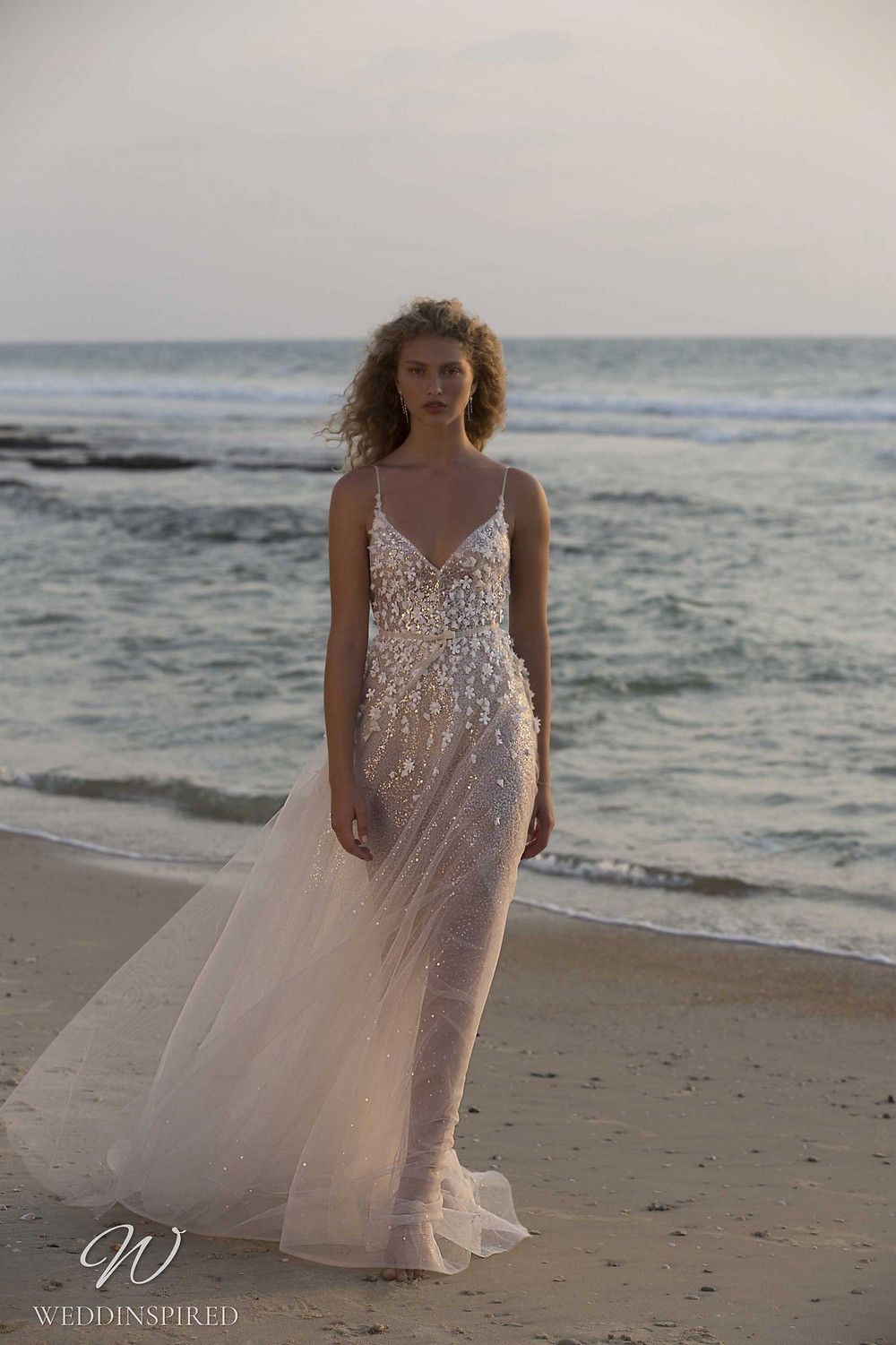 A Muse by Berta sparkly blush tulle A-line wedding dress with straps