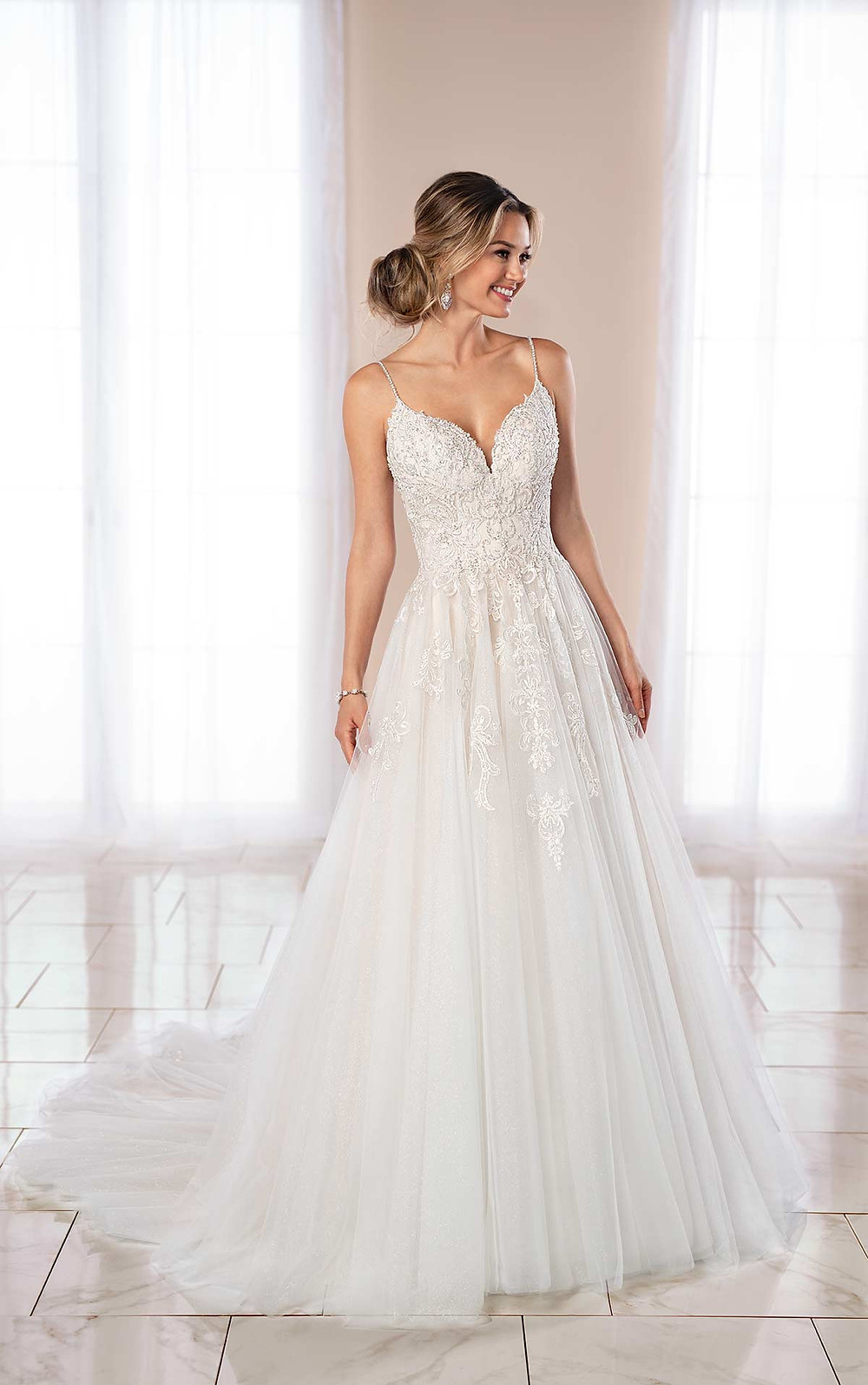 A Stella York 2020 lace and tulle ball gown wedding dress with straps