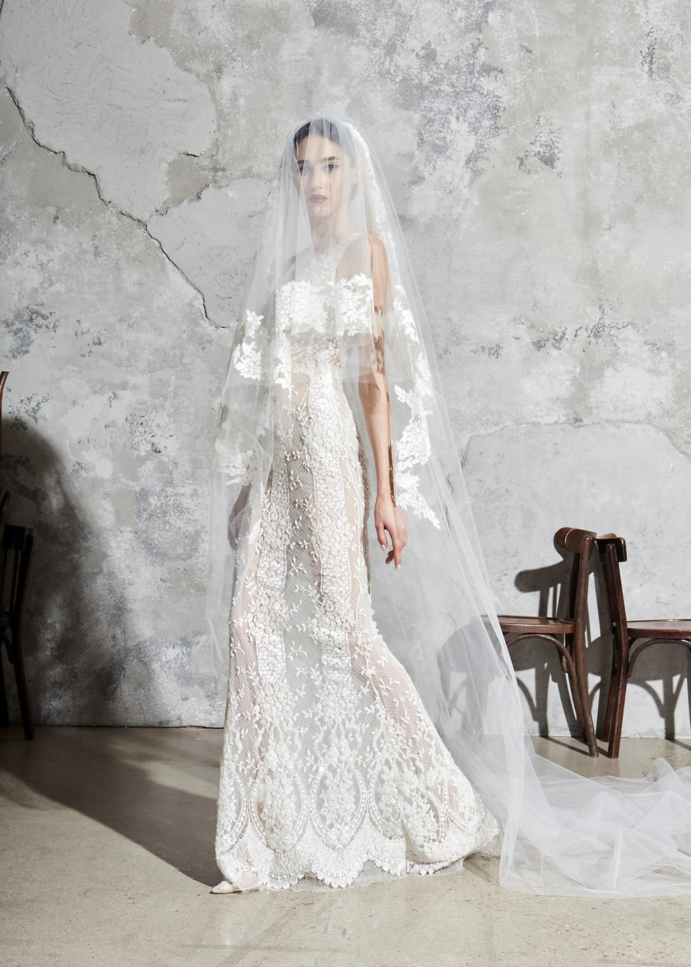 A Zuhair Murad lace mermaid fit and flare wedding dress