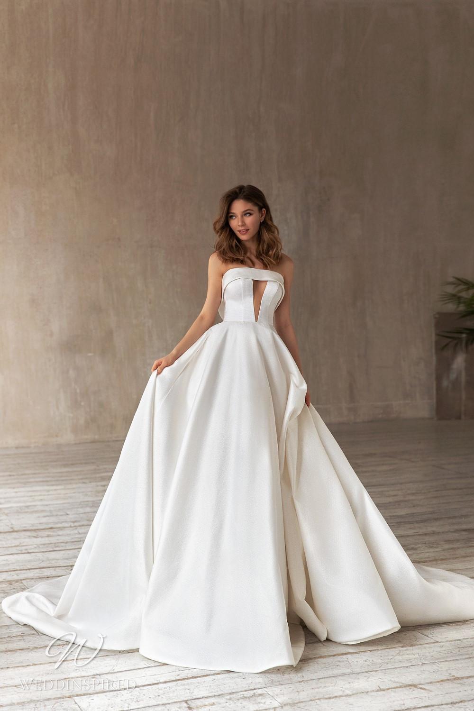 An Eva Lendel 2021 simple strapless silk ball gown wedding dress