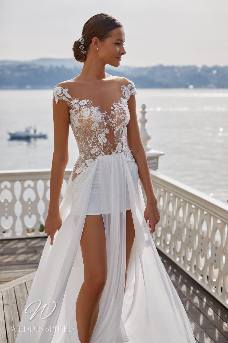 A Milla Nova 2021 short lace and chiffon off the shoulder wedding dress