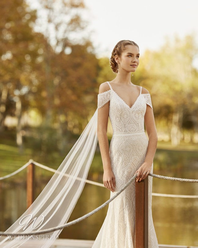 An Aire Barcelona 2021 lace off the shoulder mermaid wedding dress
