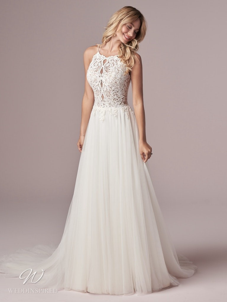 A Rebecca Ingram 2020 halterneck lace and tulle A-line wedding dress