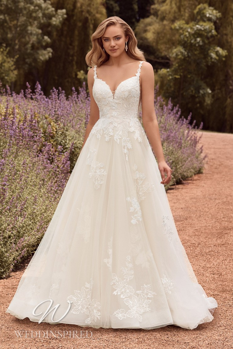 A Sophia Tolli 2021 lace and tulle A-line wedding dress