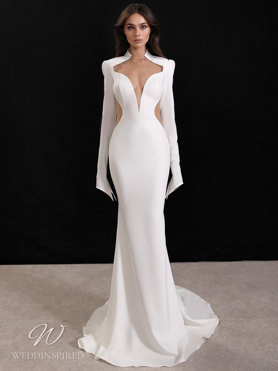 A Galia Lahav 2022 simple mermaid wedding dress with long sleeves