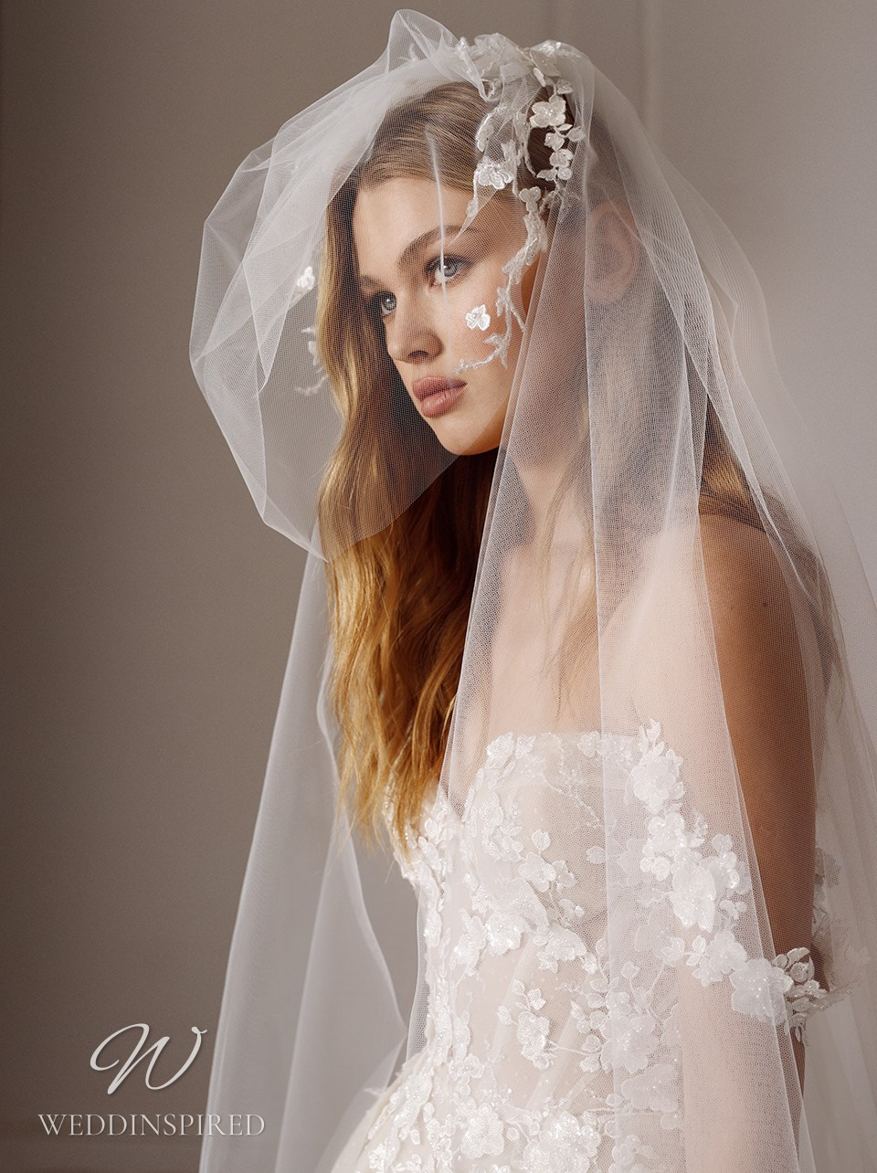 A Galia Lahav 2022 off the shoulder lace and tulle A-line wedding dress