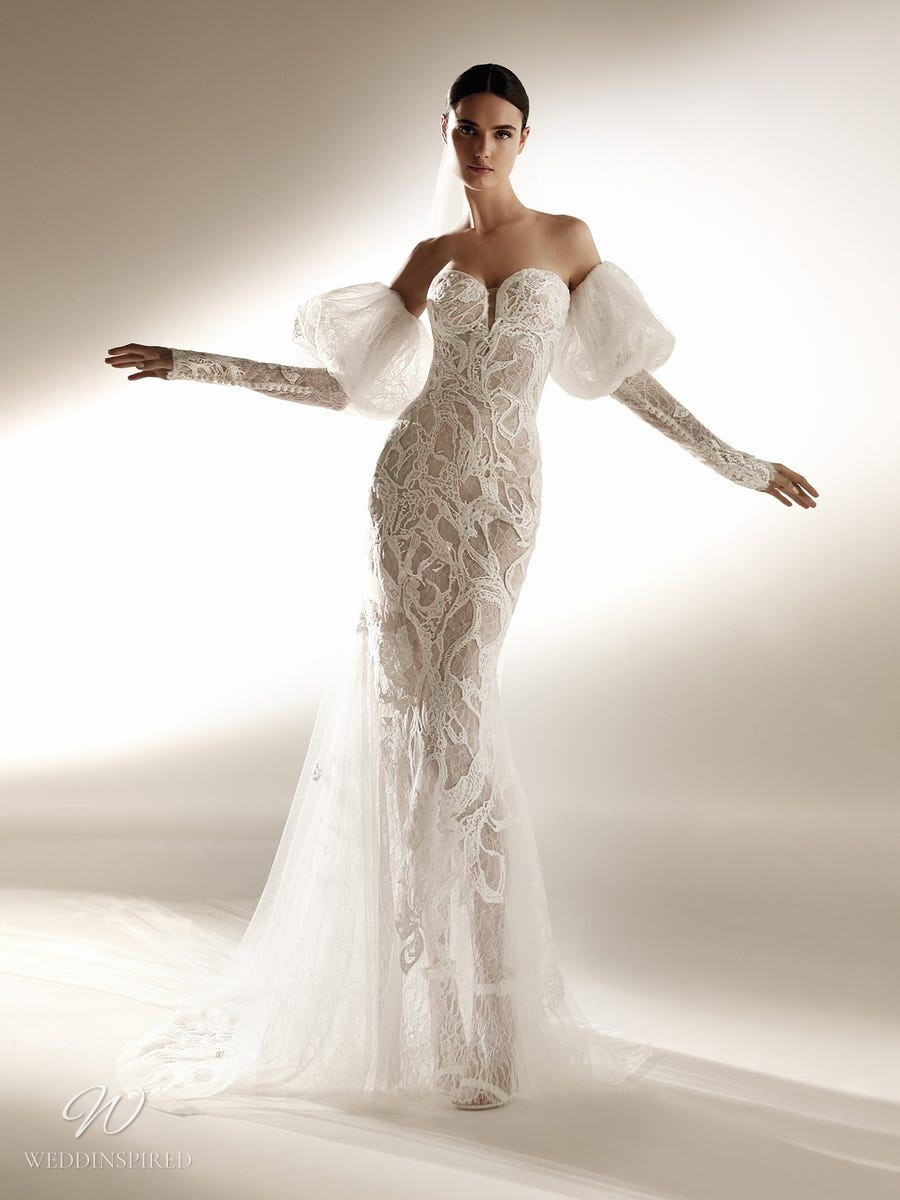An Atelier Pronovias lace mermaid wedding dress with a sweetheart neckline and long removable sleeves