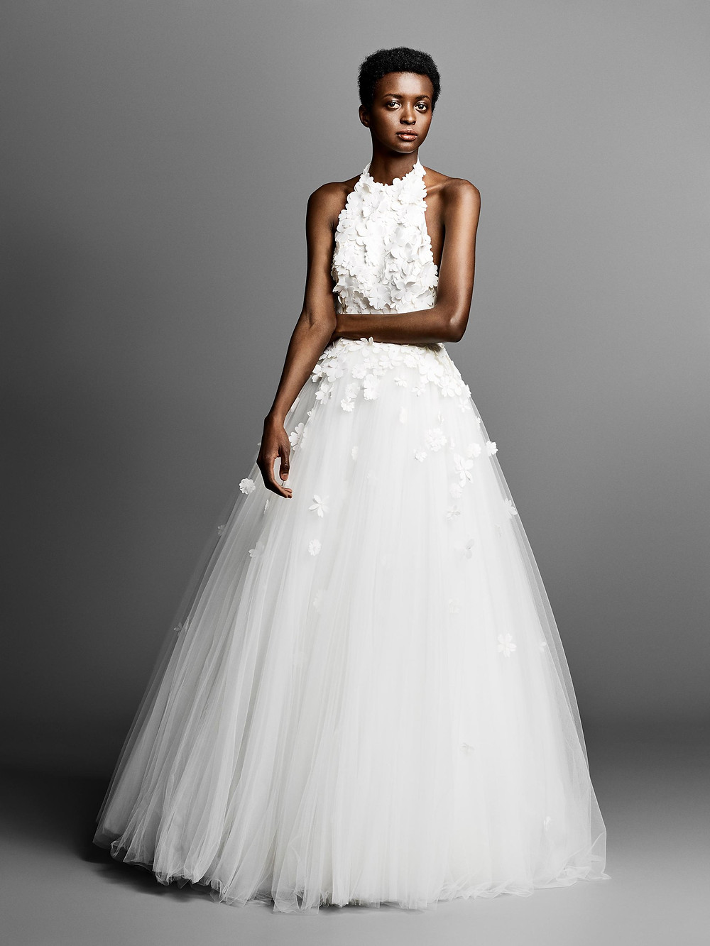 A Viktor & Rolf halterneck tulle ball gown wedding dress