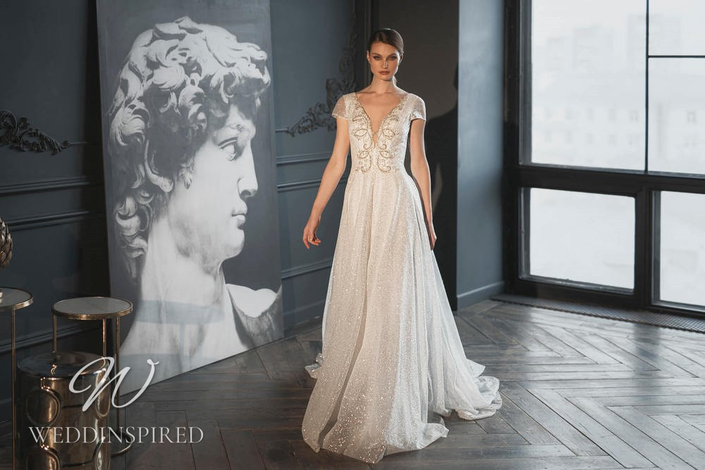 A Blunny 2021 sparkly tulle A-line wedding dress with cap sleeves