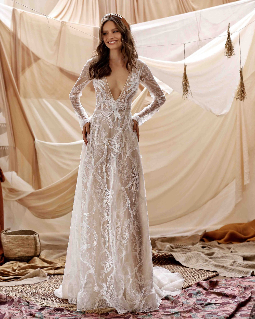 A A Berta 2021 long sleeve, low V, A-line Wedding dress, with embroidery