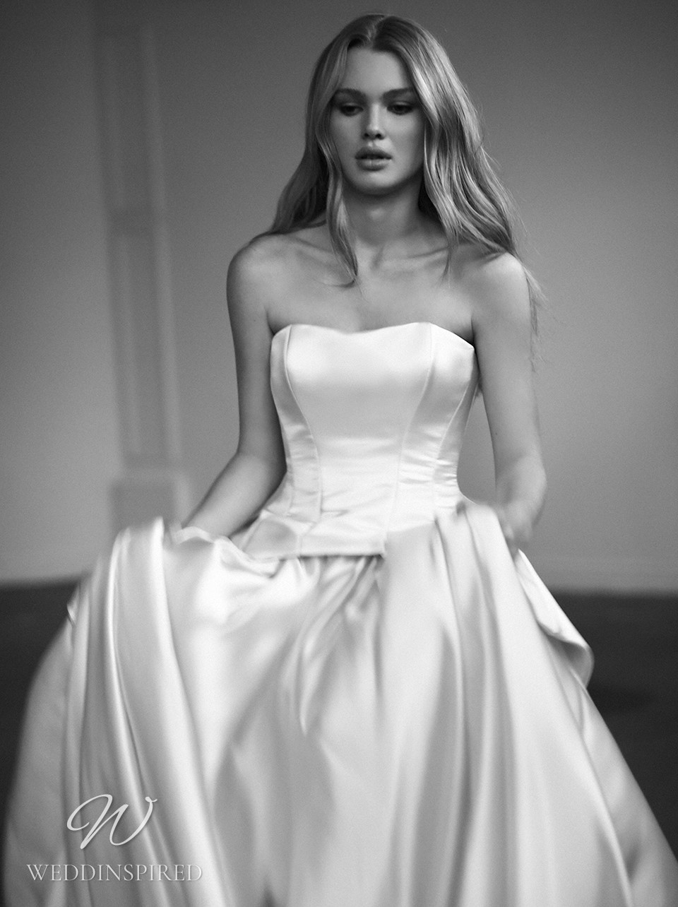 A Galia Lahav 2022 strapless champagne satin ball gown wedding dress