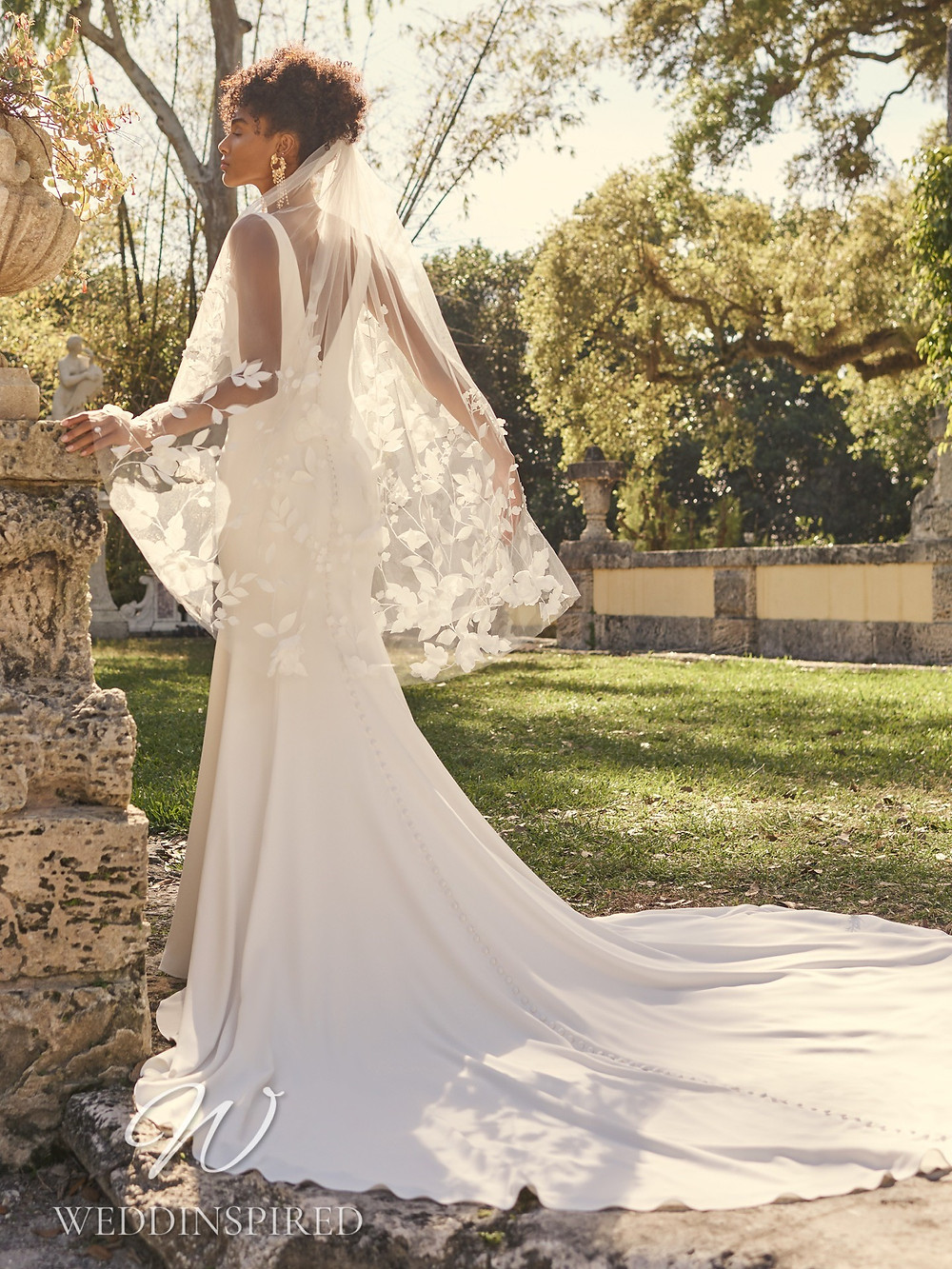 A Maggie Sottero 2021 simple satin mermaid wedding dress