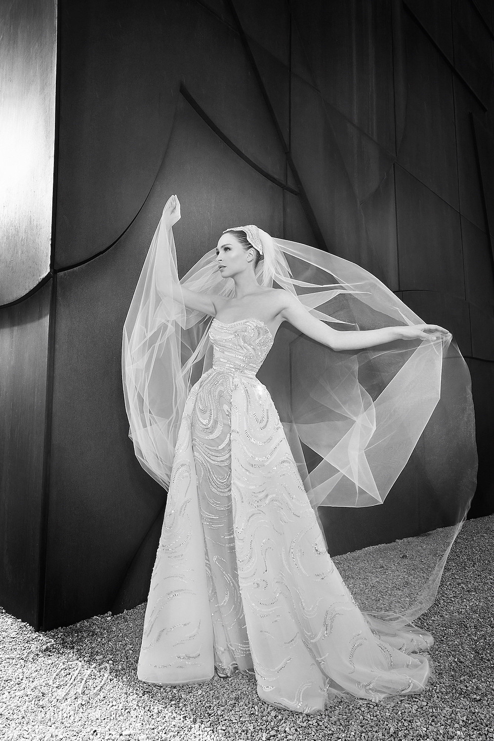 A Zuhair Murad Spring 2022 sparkly strapless tulle A-line wedding dress