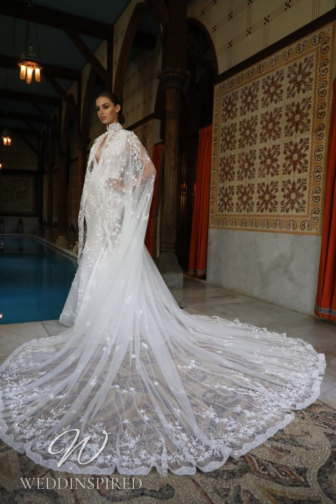 A Georges Hobeika 2021 lace mermaid wedding dress with a v neck