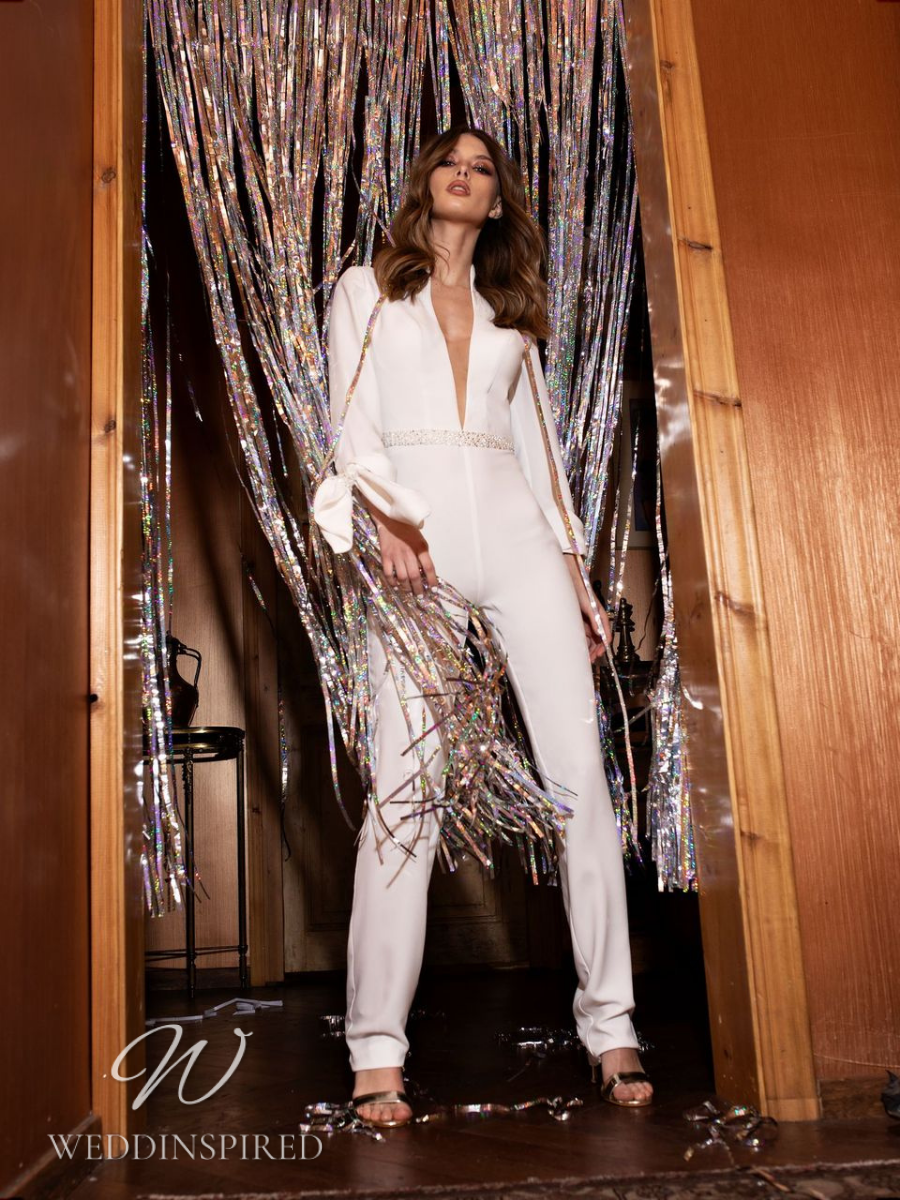 A Riki Dalal 2021 satin wedding jumpsuit or pantsuit with long sleeves