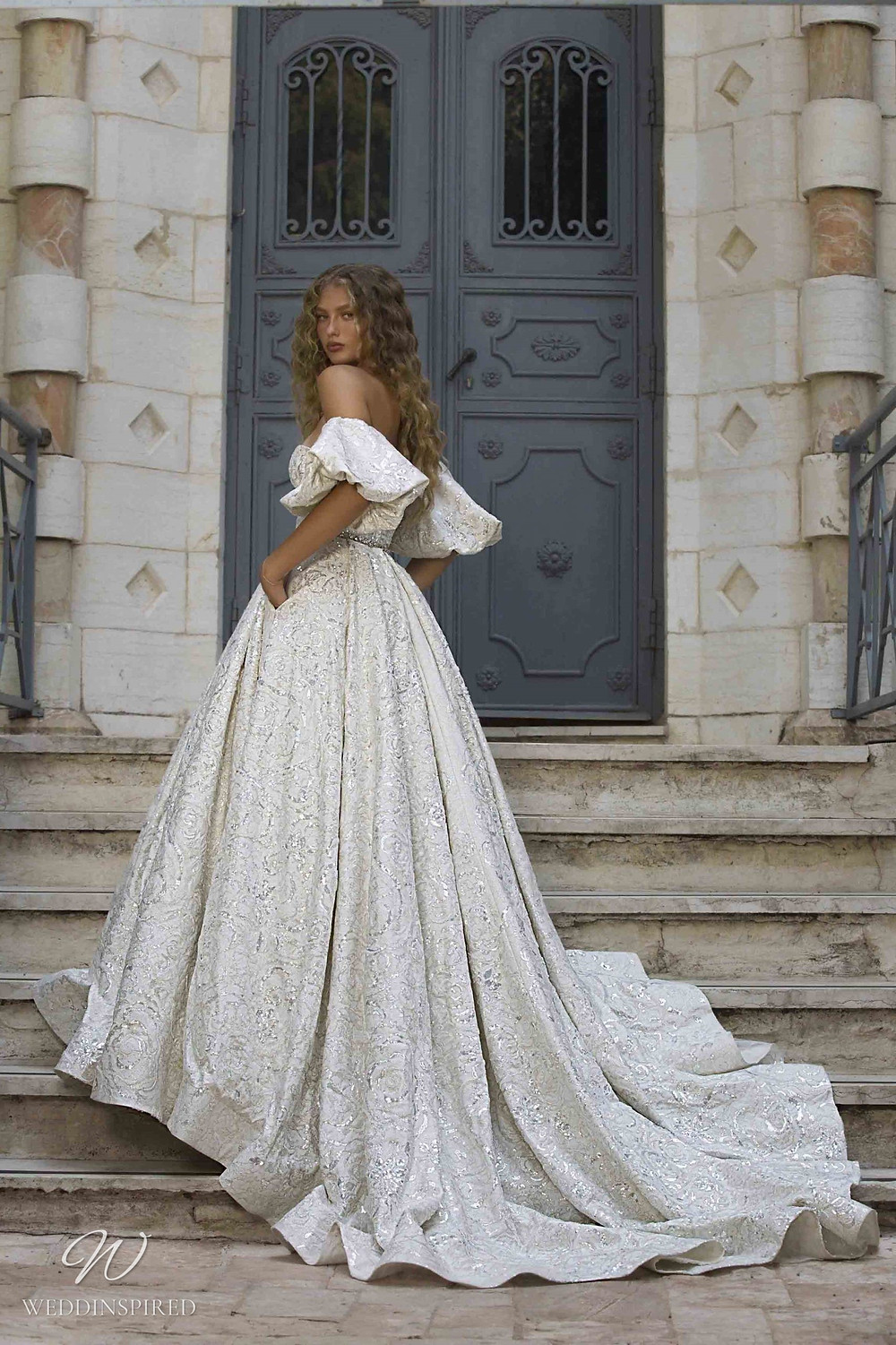 A Berta Colony 2021 off the shoulder silver ivory princess ball gown wedding dress