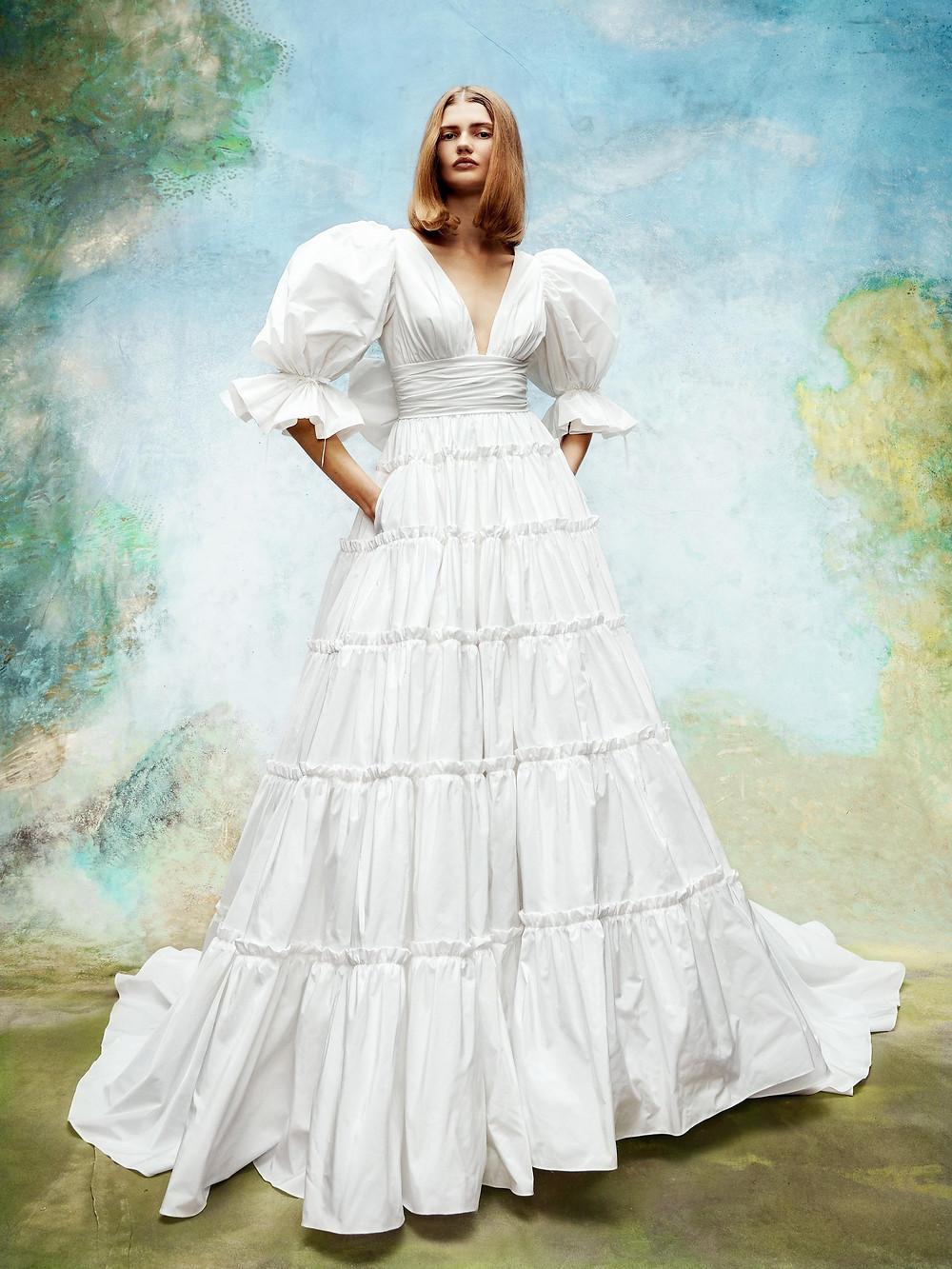 A Viktor & Rolf linen 3/4 puff sleeve, ball gown wedding dress, with low v neckline