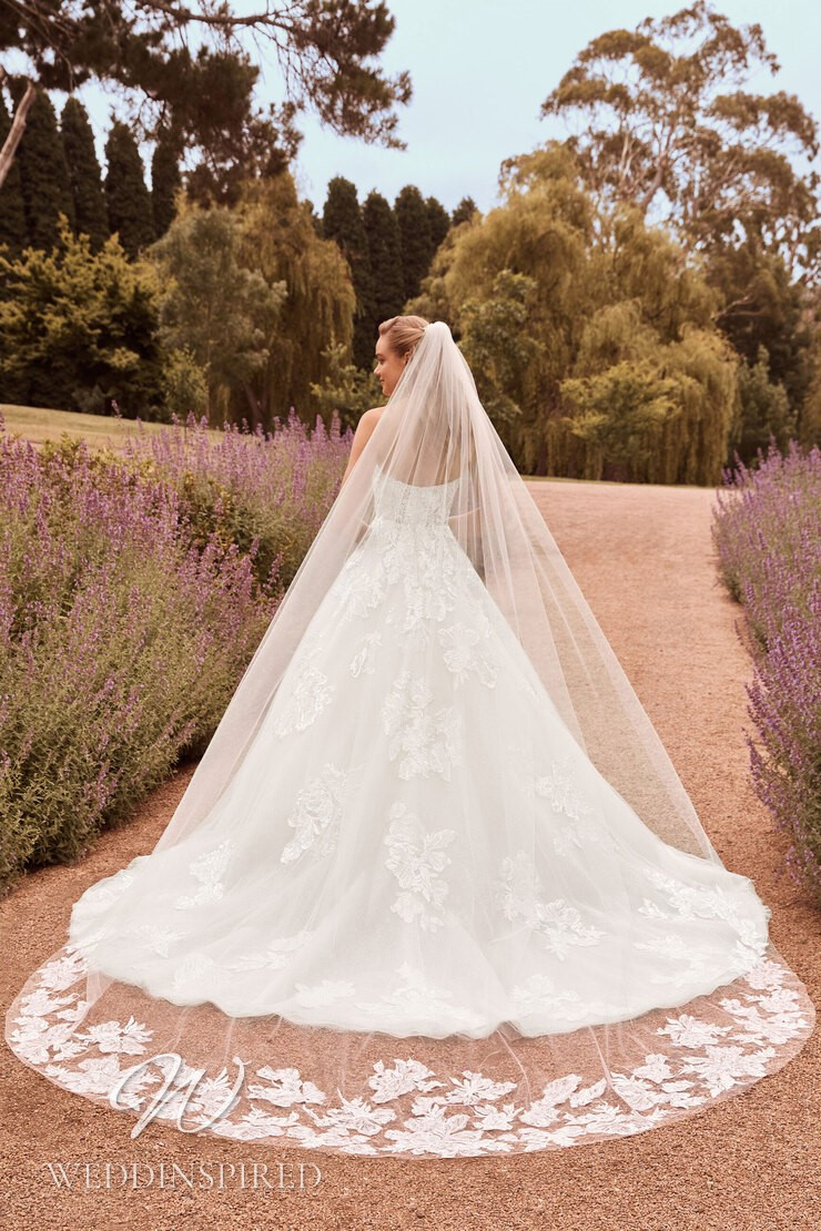 A Sophia Tolli 2021 lace and tulle princess wedding dress