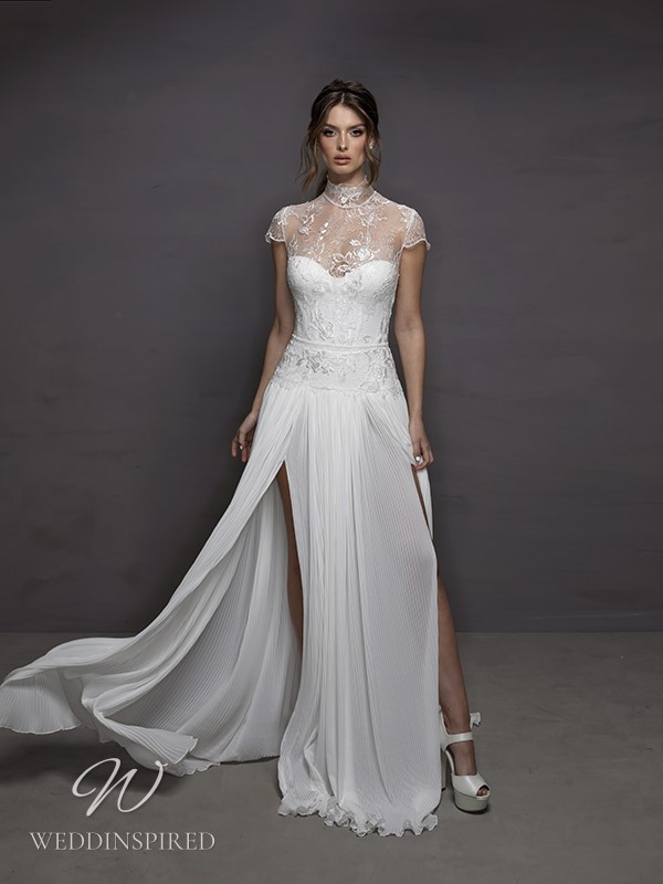 A Riki Dalal 2021 lace and chiffon A-line wedding dress with cap sleeves