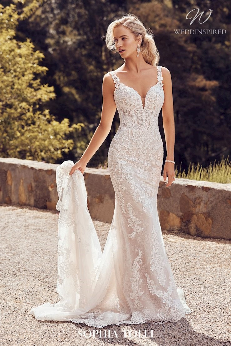A Sophia Tolli lace mermaid wedding dress with a train