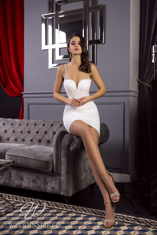 A Tina Valerdi sexy satin short wedding dress