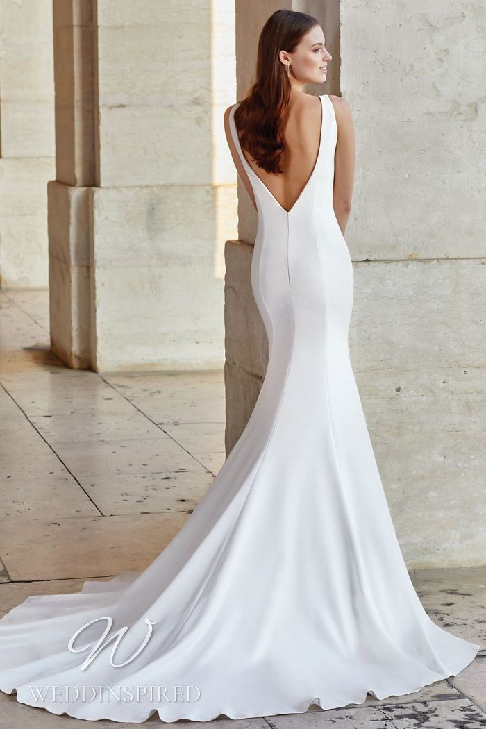 A Justin Alexander 2021 simple satin mermaid wedding dress with a low back