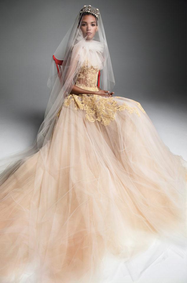 A Vera Wang blush gold tulle princess ball gown wedding dress