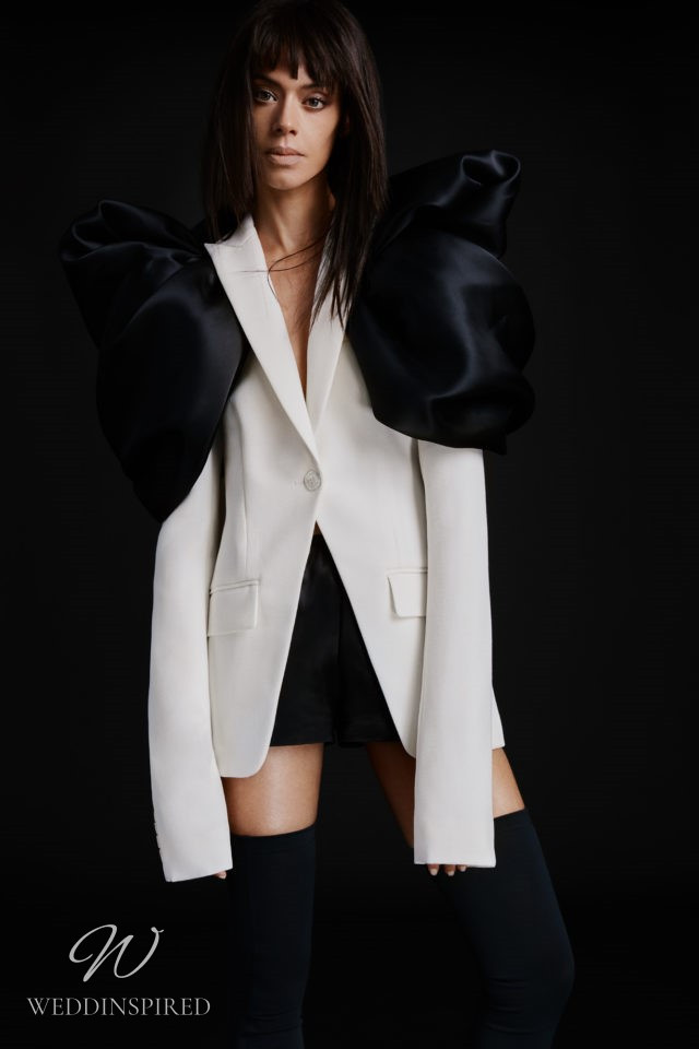 A Vera Wang Fall 2021 white and black blazer short wedding dress