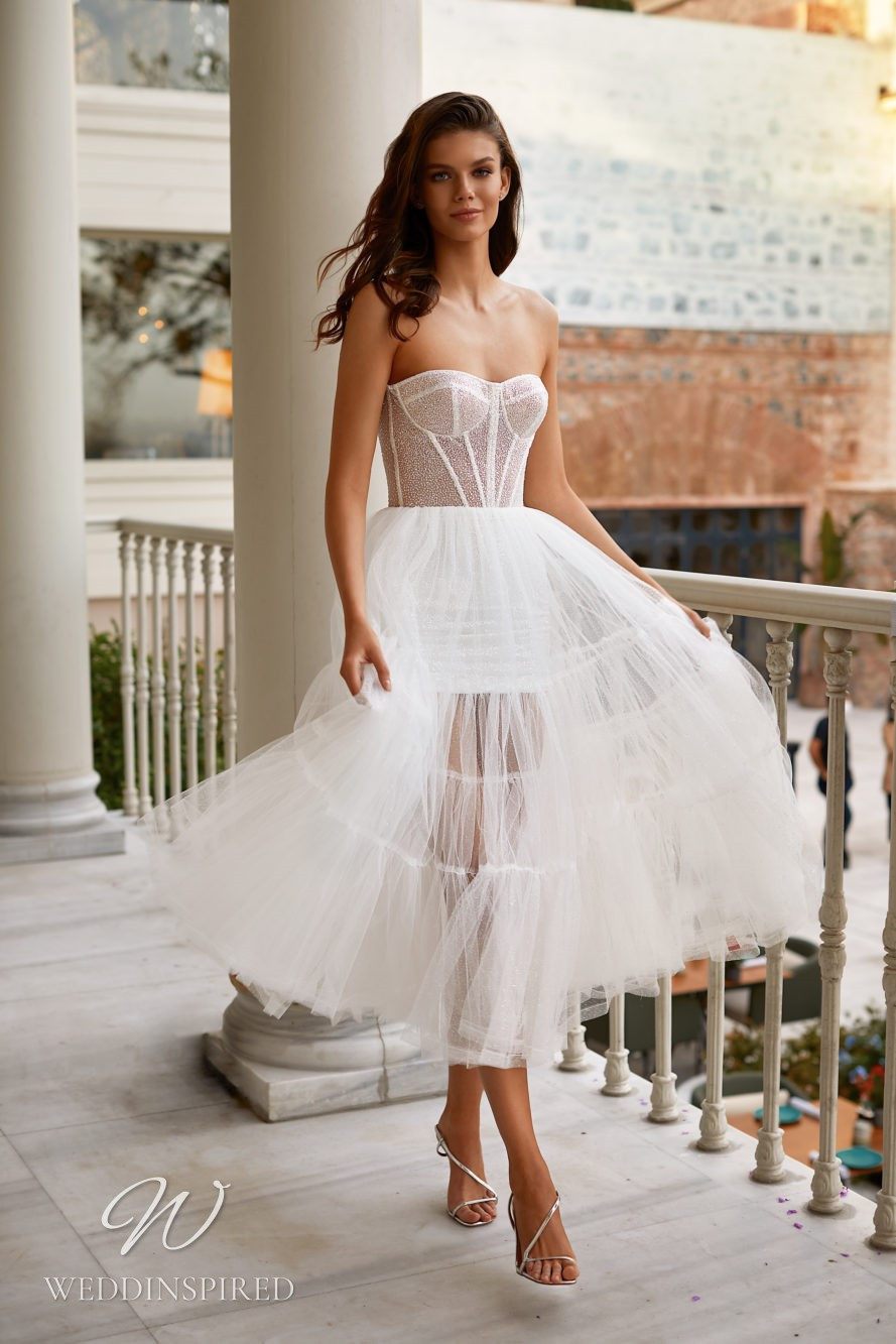 A Milla Nova 2021 strapless sparkly tulle tea length wedding dress
