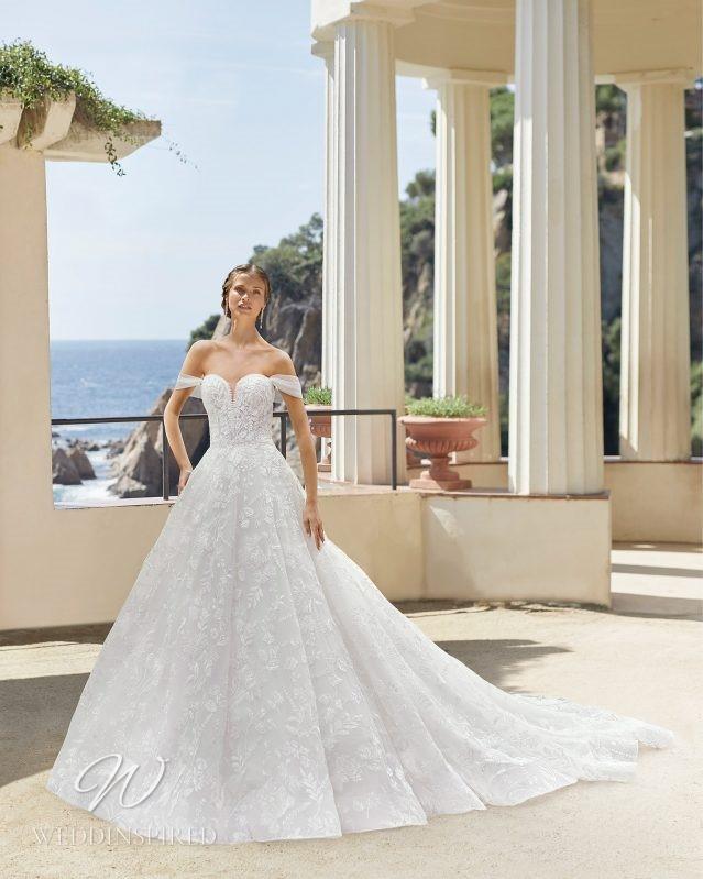 A Rosa Clara 2021 lace off the shoulder princess ball gown wedding dress