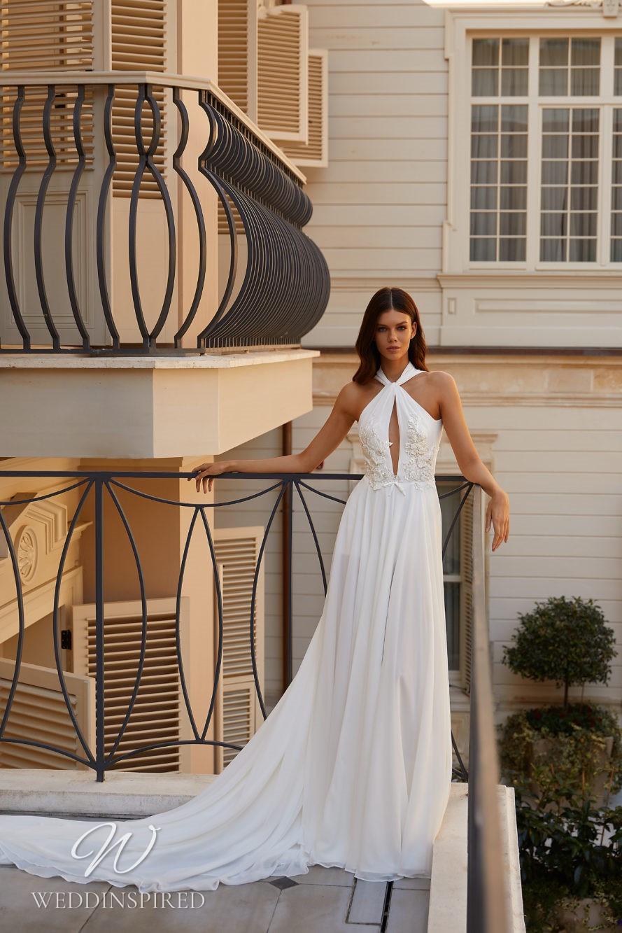 A Milla Nova 2021 simple halterneck chiffon sheath wedding dress