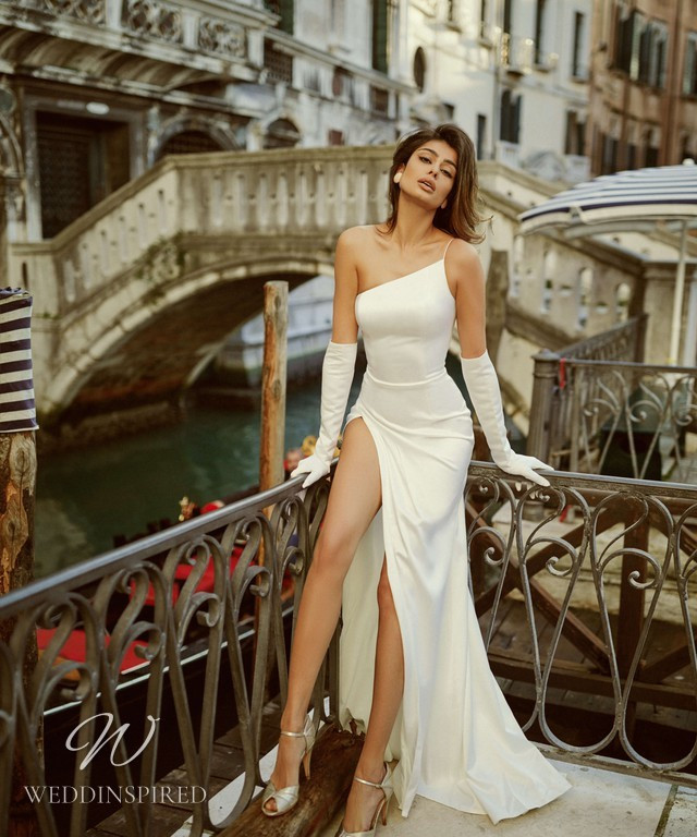 A Rara Avis 2021 sexy old Hollywood glamourous one shoulder silk fitted wedding dress with a high slit