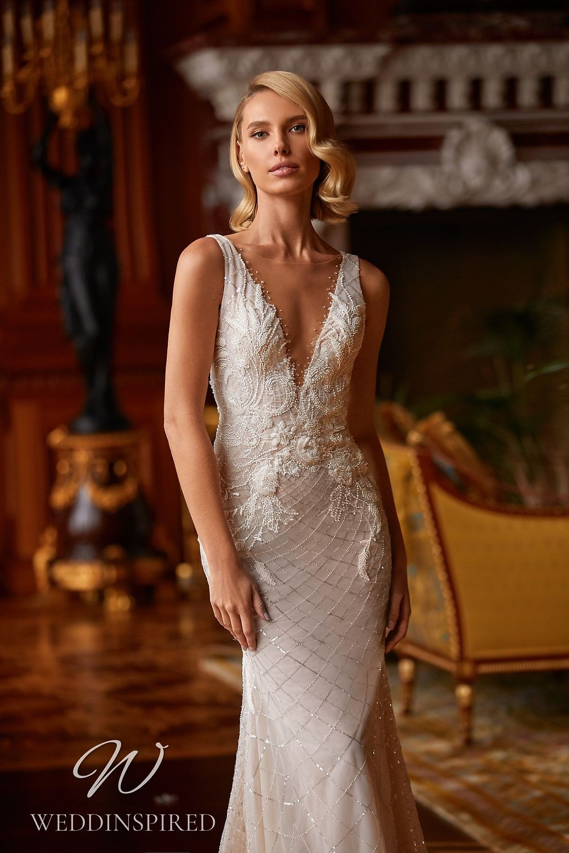 A Pollardi 2021 lace and tulle mermaid wedding dress
