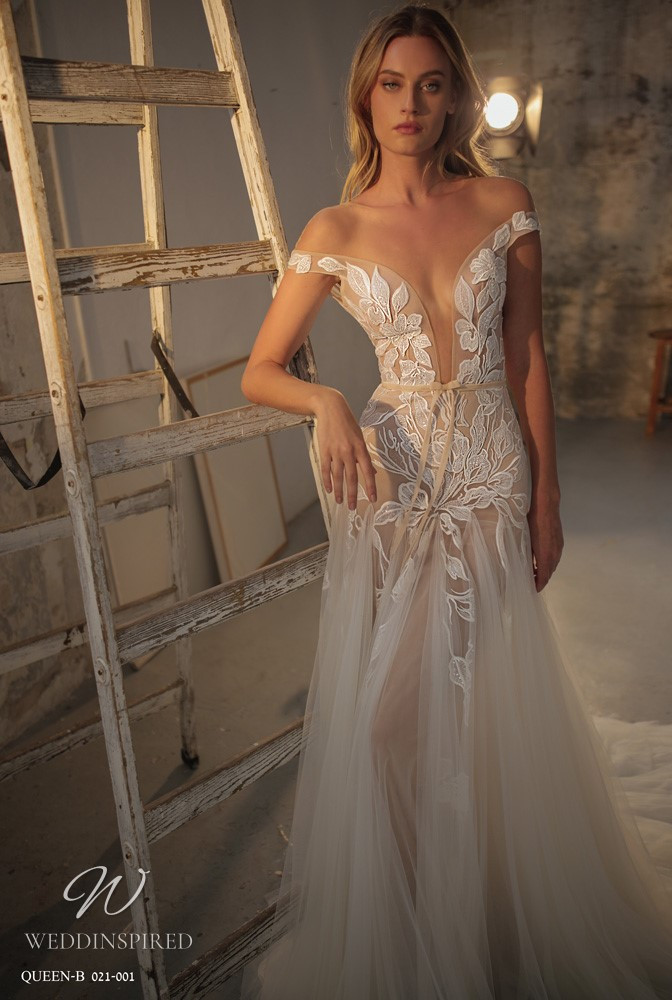 A Gali Karten 2021 off the shoulder lace and tulle A-line wedding dress