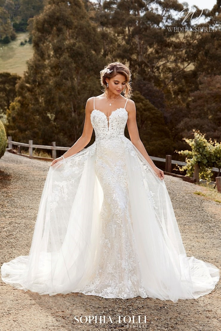 A Sophia Tolli lace mermaid wedding dress with tulle detachable skirt