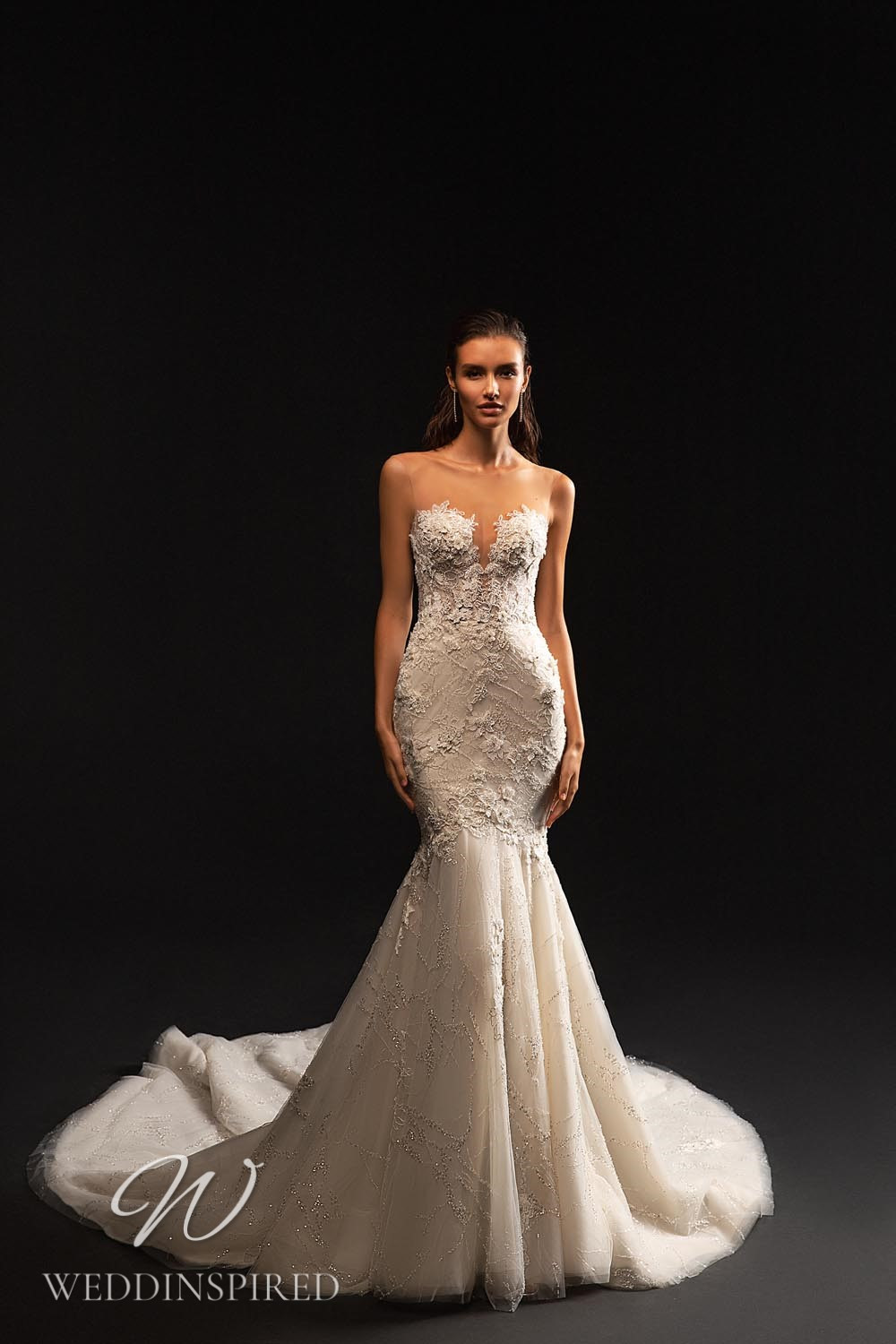 A WONÁ Concept 2021 strapless lace and tulle mermaid wedding dress