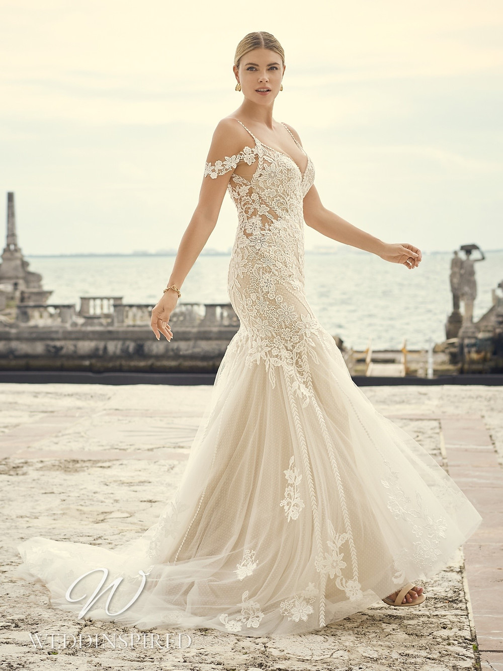A Sottero & Midgley 2021 ivory off the shoulder lace mermaid wedding dress