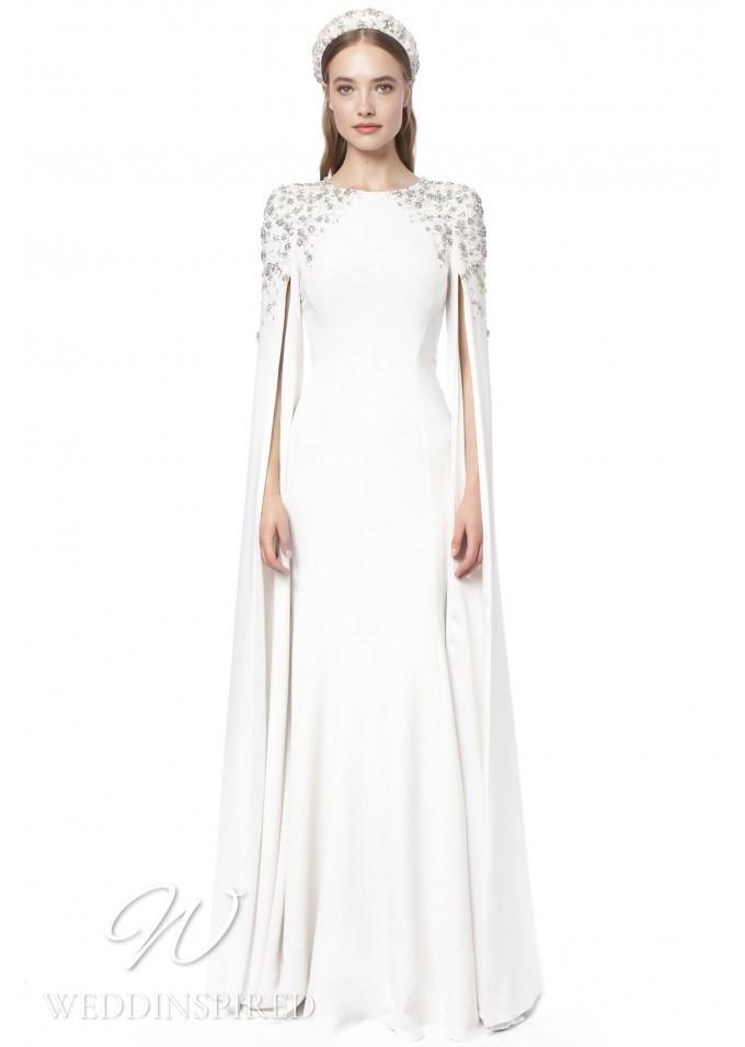 A Jenny Packham 2021 modest sparkly sheath wedding dress