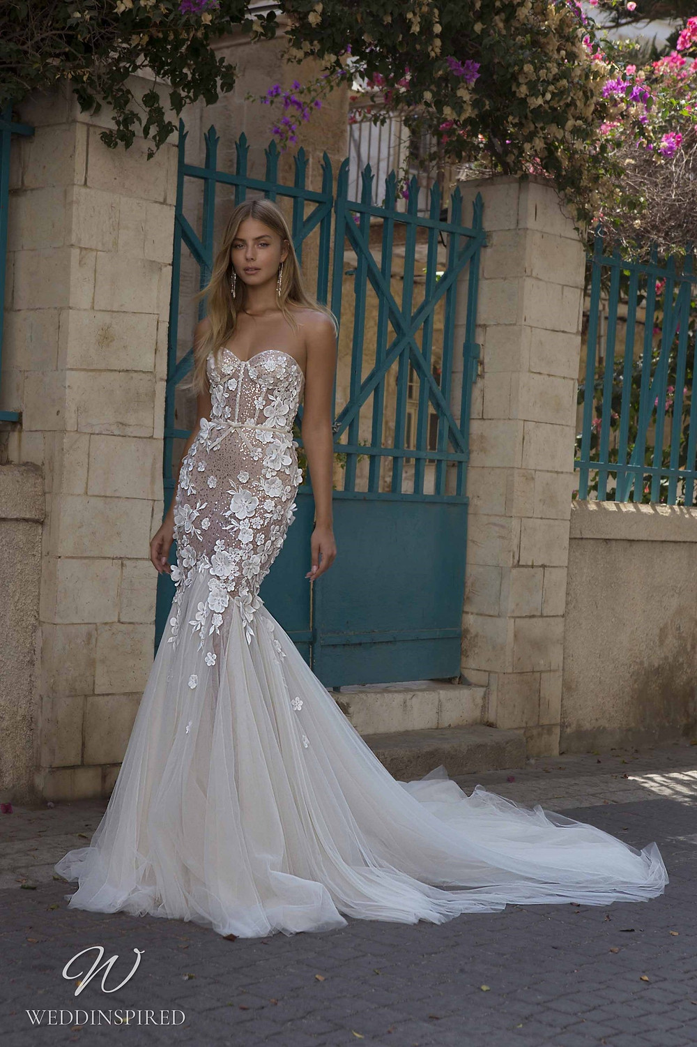 A Berta Priveé No 5 2021 nude strapless sparkly lace and tulle mermaid wedding dress